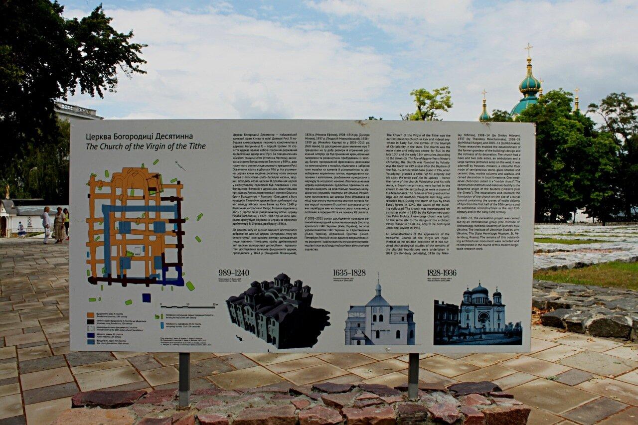 Информационный стенд возле фундамента Десятинной церкви
