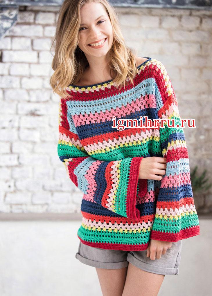 В бохо стиле. Яркий пуловер с разноцветными полосками. Вязание крючком