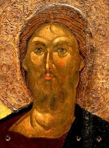 Христос Пантократор. Икона. Византия, XIV век. Византийский музей в Афинах. Лик.