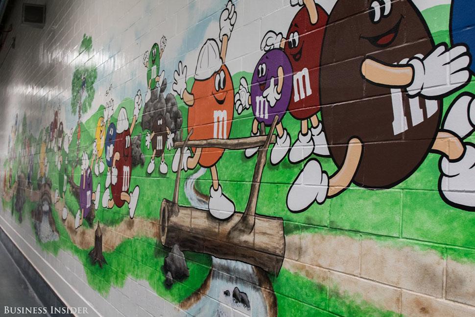 Тур по фабрике начинается с коридора, украшенного яркими рисунками персонажей M&M's.