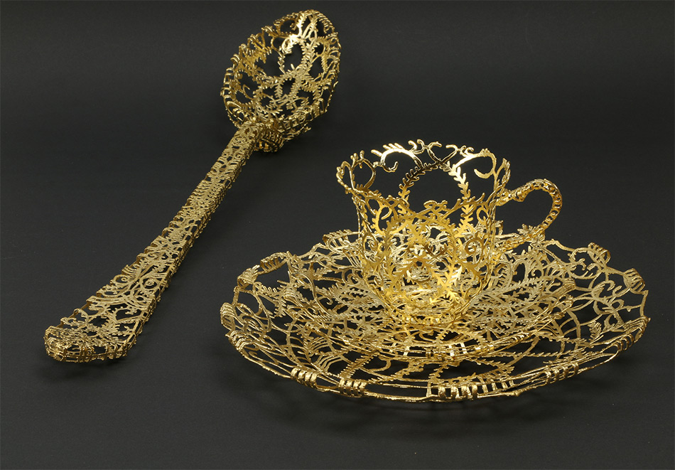 Ornate Tableware Sculpted in Gold and Silver Filigree by Wiebke Maurer