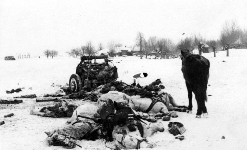 Разбитый передок 76-мм дивиз. пушки Ф-22 и погибшие ездовые артрасчета.jpg