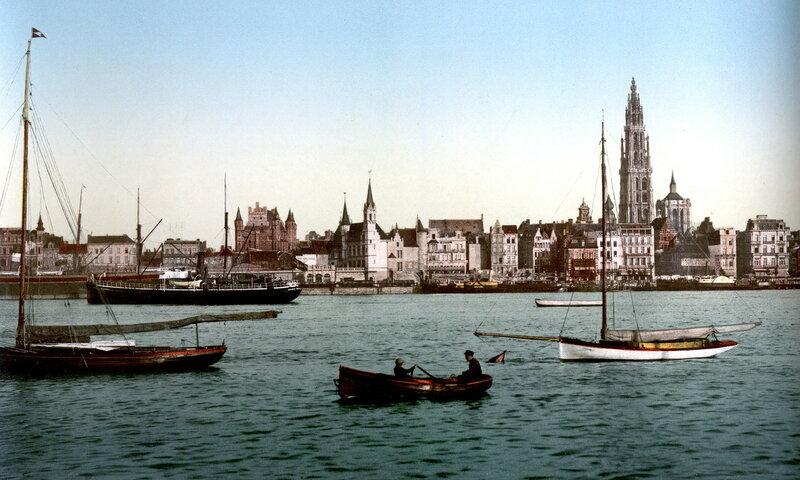 вид на Антверпен со стороны Шельды, конец XIX века