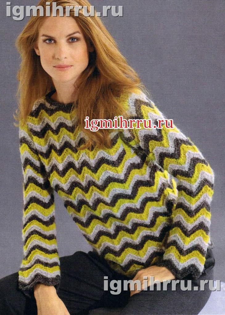 Пуловер из трехцветного волнистого узора. Вязание спицами