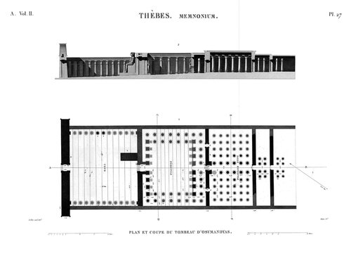 Рамессеум, храм фараона Рамсеса II, Египет, план и разрез передней части храма