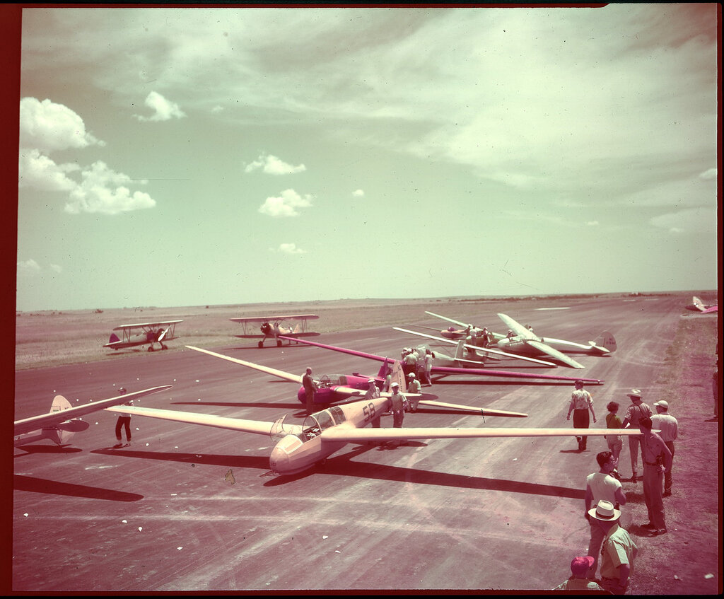 Panoramic view of the flight line at the Wichita Falls, TX, National Soaring Meet