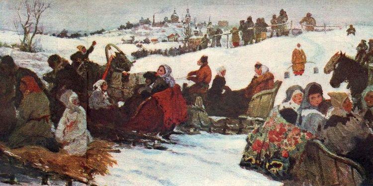 Александр Алексеевич Бучкури  - Катание на святках. Холст, масло