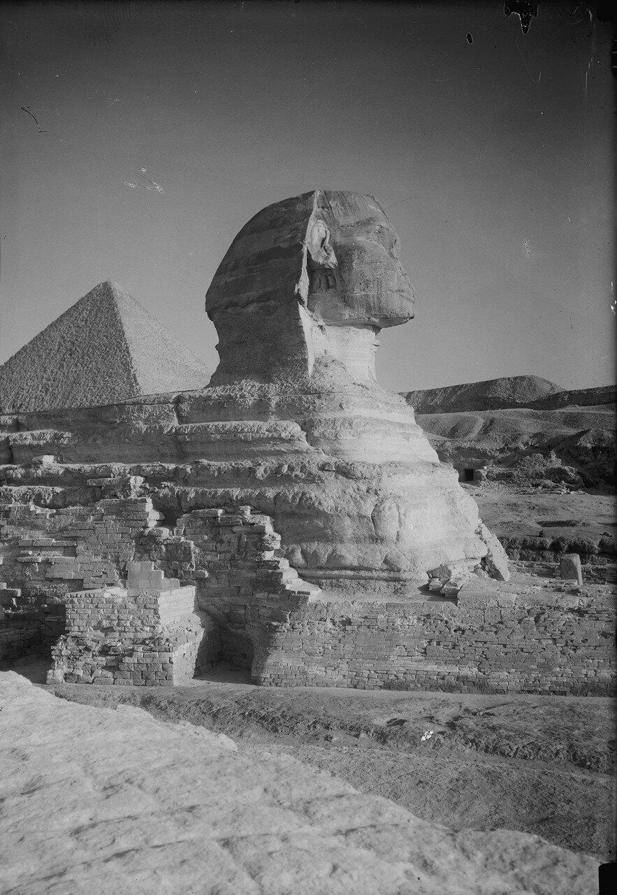 Гиза. Сфинкс и пирамиды. Сфинкс (профиль) и пирамида. 1934