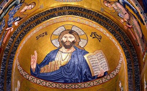 Мозаические образы Христа в Палатинской капелле в Палермо. XII век.