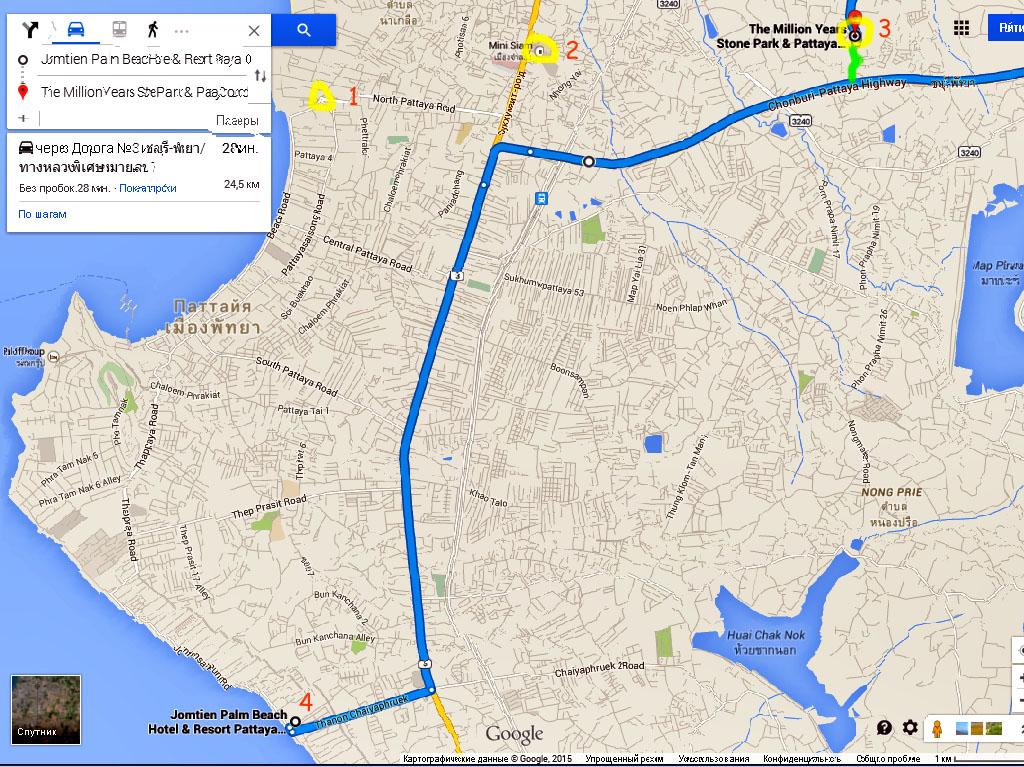"""Карта со схемой проезда от пляжа Джомтьен до парка Миллионолетних камней и Крокодиловой Фермы в Паттайе. Точка """"1"""" - фонтан с дельфинами, от которого начинается круговой маршрут тук туков. Точка """"2"""" - парк Мини Сиам (для информации). Точка """"3"""" - парк. Пункт """"4"""" - отель """"Mermaid's Beach Resort Jomtien"""" в переулке Soi 7 на пляже Джомтьен."""