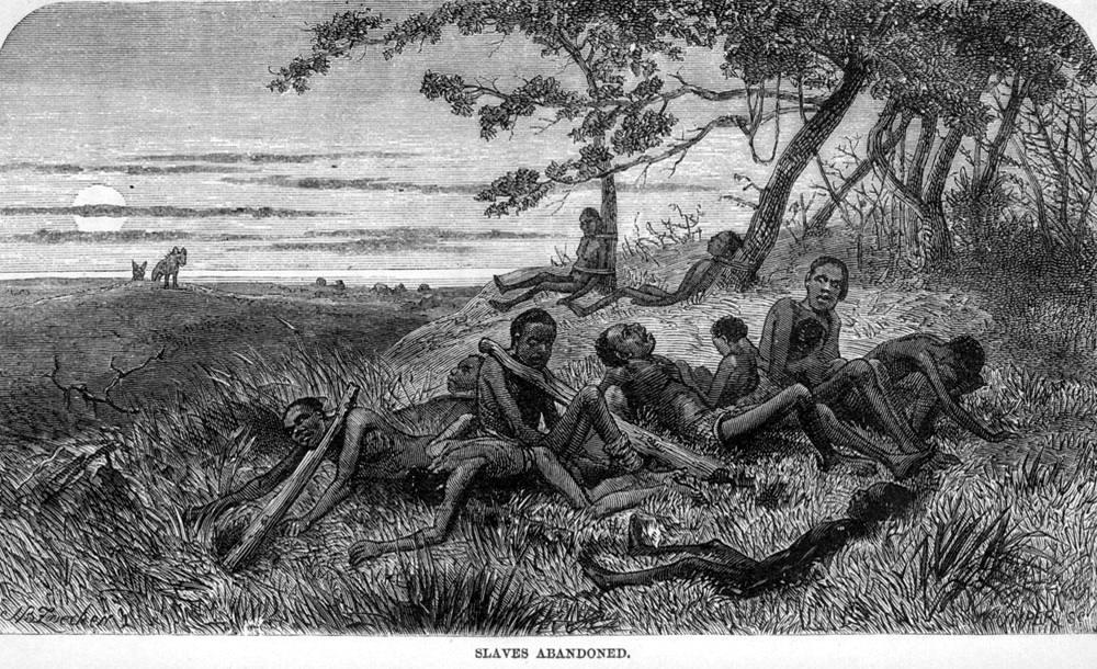 Группа ослабленных рабов, которые оказались брошенными работорговцами на съедение хищникам (Центральная Африка, 1866 год)