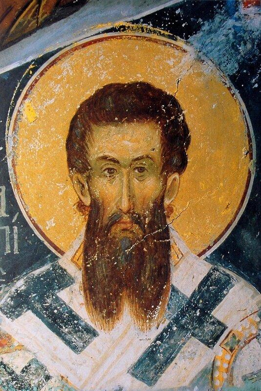 Святитель Григорий Палама, Архиепископ Фессалонитский (Солунский). Фреска монастыря Ватопед на Святой Горе Афон. 1371 год.
