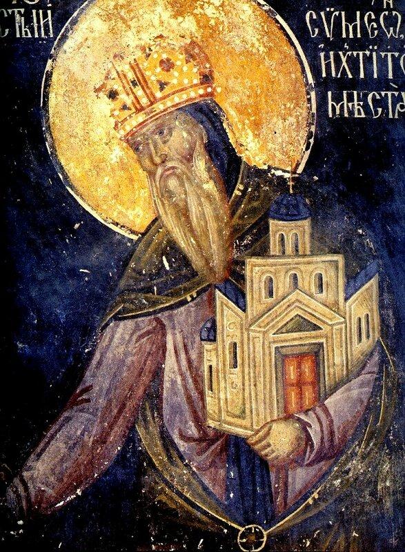 Святой Преподобный Симеон Мироточивый (в миру Великий Жупан Стефан Неманя). Фреска в церкви Богородицы в Студенице, Сербия.