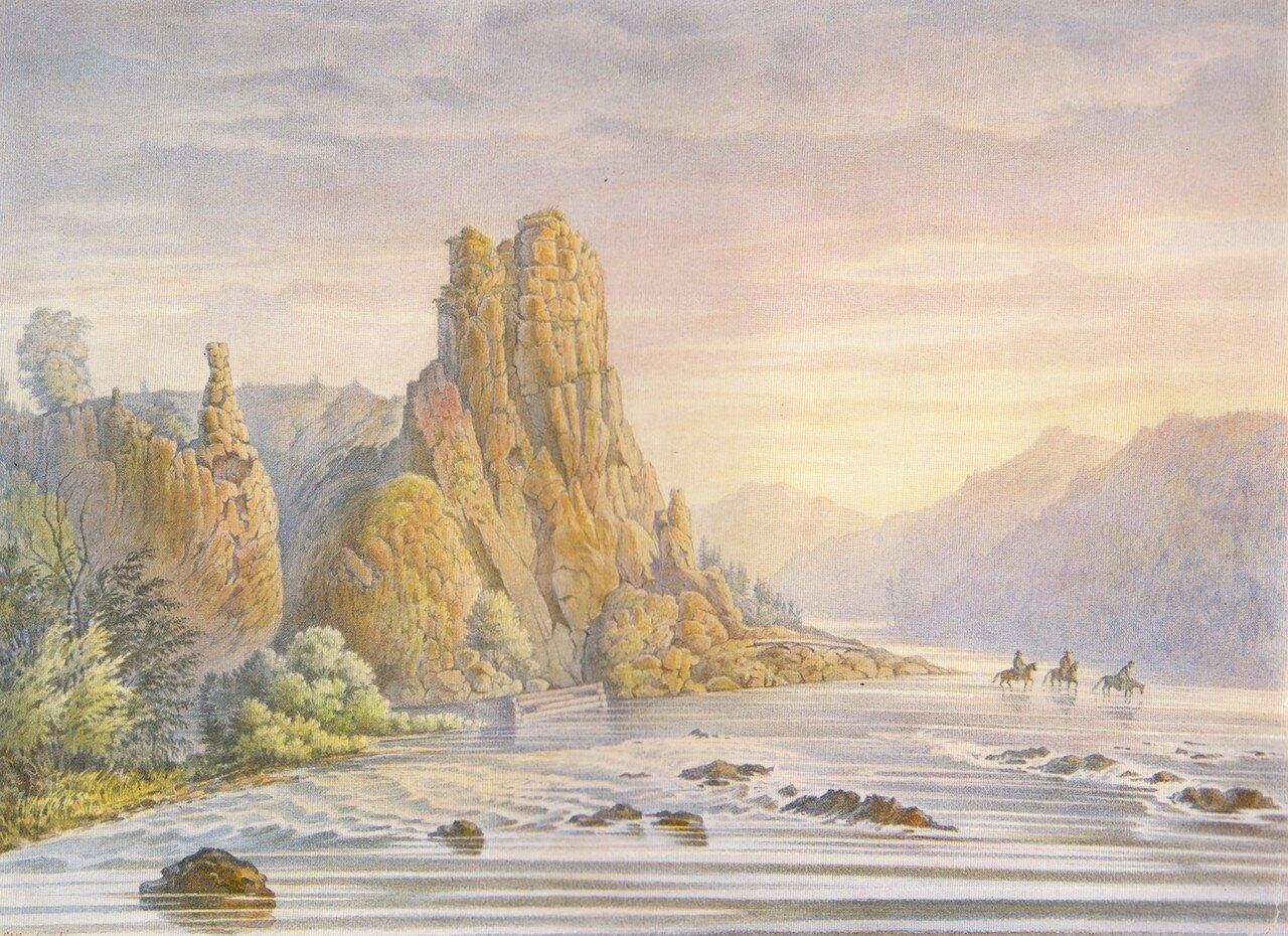 89 Камень на реке Бирюсе в четырех верстах от золотых приисков Бирюсинской системы.jpg