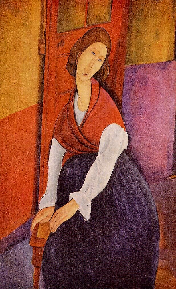 Jeanne Hebuterne (also known as In Front of a Door) - 1919 - Private collection - Painting - oil on canvas - Height 129.54 cm (51 in), Width 81.6 cm (32.13 in).jpeg