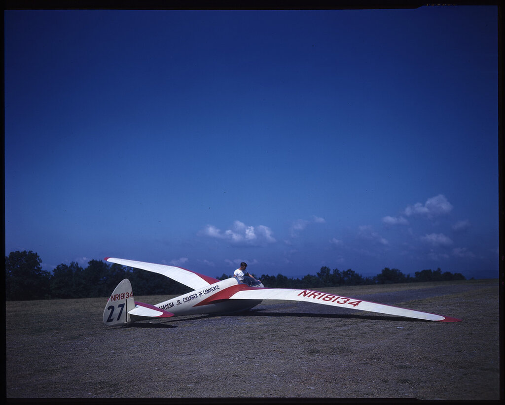 Ross-Stevens RS-1 Zanonia Sailplane (rn NR18134; race No 27) on the ground. Possibly taken at the 1948 National Contest at Harris Hill, New York