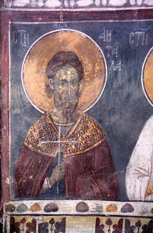 Святой мученик Аифал, диакон Персидский. Фреска монастыря Грачаница, Косово, Сербия. Около 1320 года.