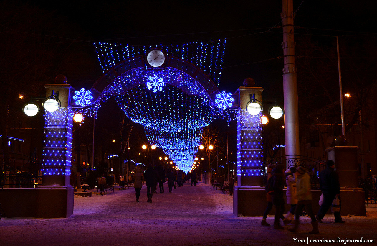 Проспект Победы на Новый Год. Гомель