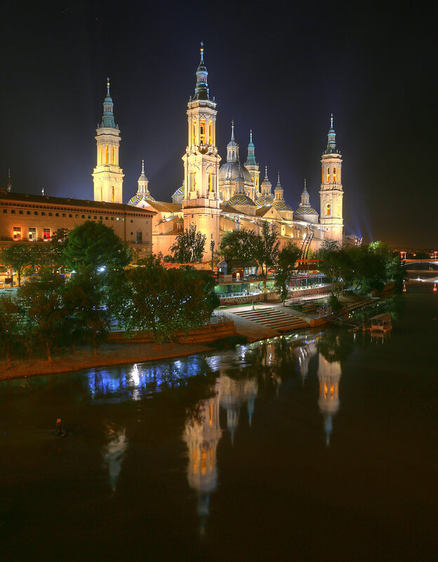 Zaragoza. The Cathedral of the virgin Pilar at night. View from Stone bridge. HDR