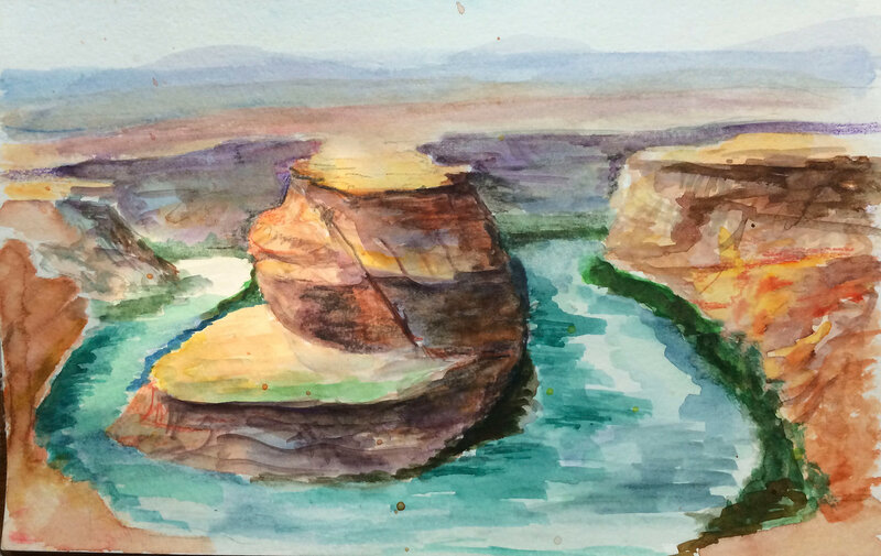Horseshoe bend watercolor