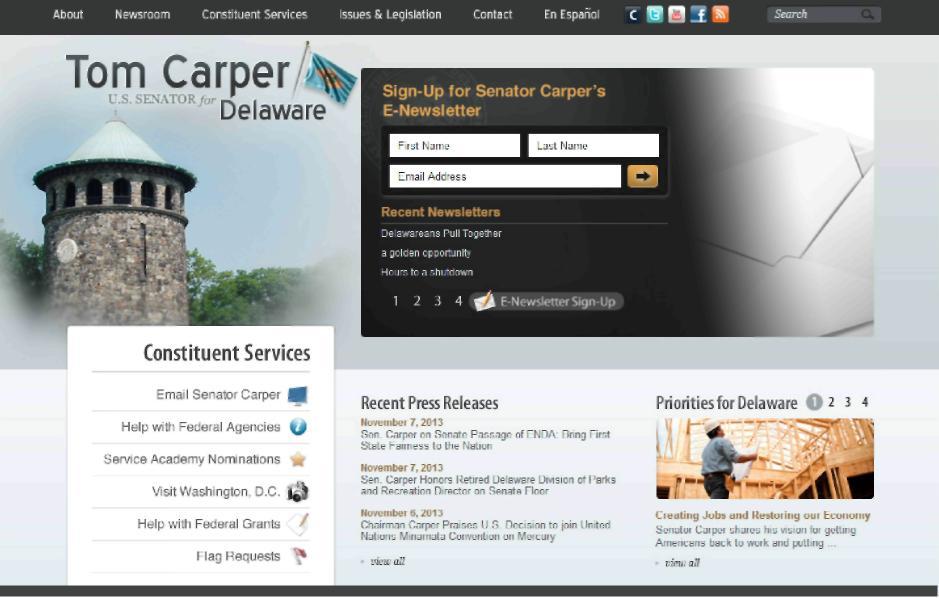 Механизмы интерактивности, представленные на              стартовой странице сайта сенатора Т. Карпера.