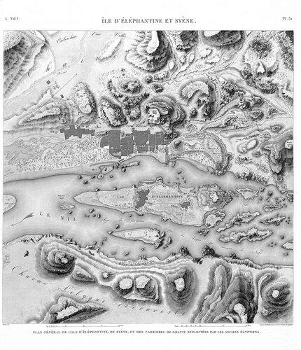 Древнеегипетский город Элефантина, верхний Нил, генплан