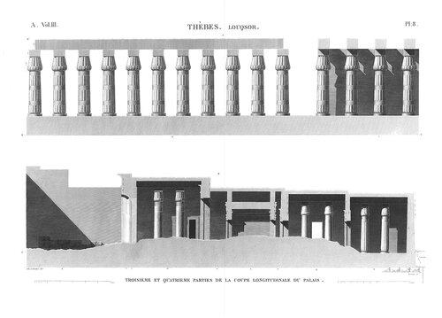 Храм Амона в Луксоре, верхний Нил, чертежи разрезов третьего и четвертого дворов