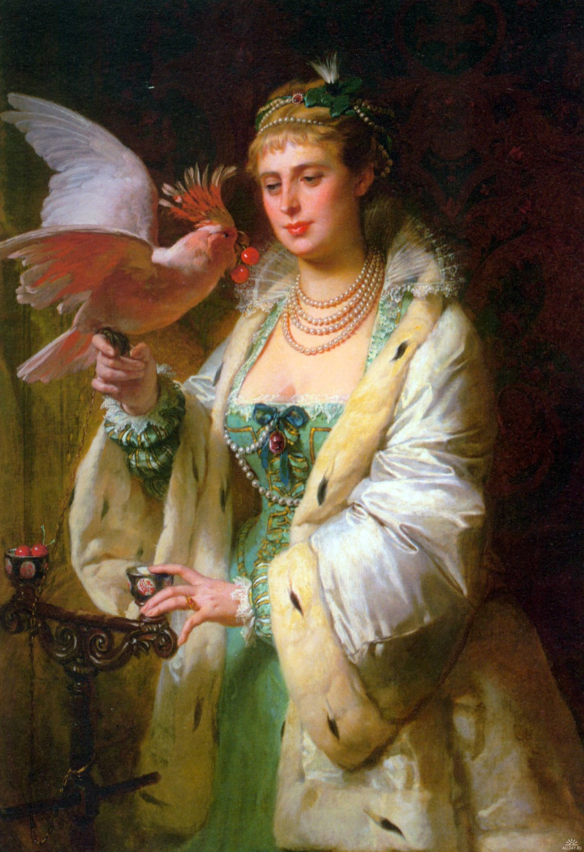 edouard-marie-guillaume-dubufe-1853-1909.-french-a-treat-for-her-pet  Удовольствие для ее питомца