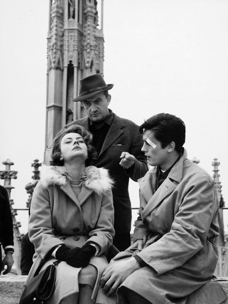 1960. С Лукино Висконти и Анни Жирардо на съемках фильма «Рокко и его братья»
