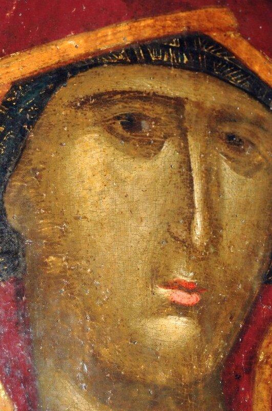 """Лик Пресвятой Богородицы. Фрагмент иконы """"Богоматерь Одигитрия"""". Византия, XIV век. Монастырь Хиландар на Афоне."""