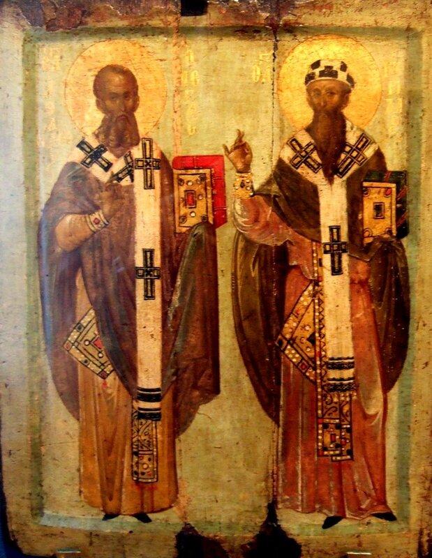 Святители Афанасий Великий и Кирилл, Архиепископы Александрийские. Икона. Византия, XIV век. ГЭ.