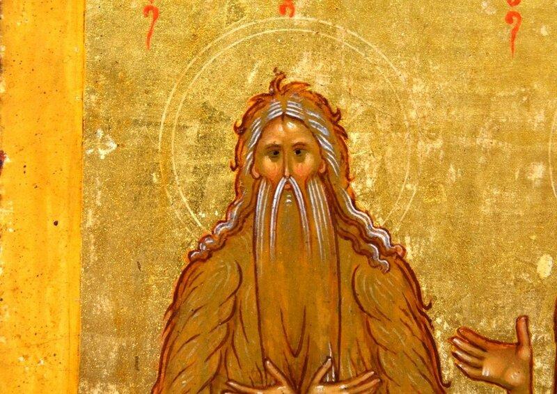 Святой Преподобный Макарий Великий, Египетский. Фрагмент новгородской иконы конца XV века.