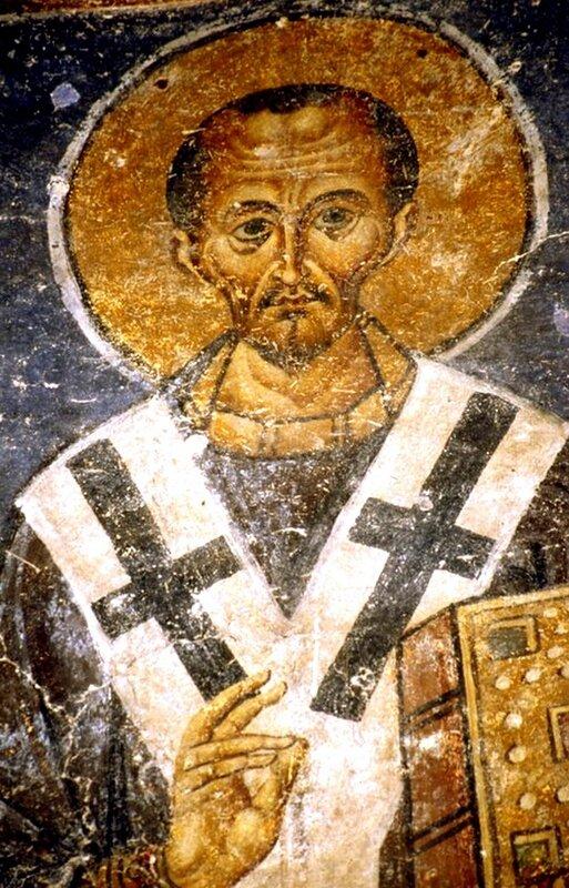 Святитель Иоанн Златоуст, Архиепископ Константинопольский. Фреска собора Святой Софии в Охриде, Македония. 1037 - 1056 годы.