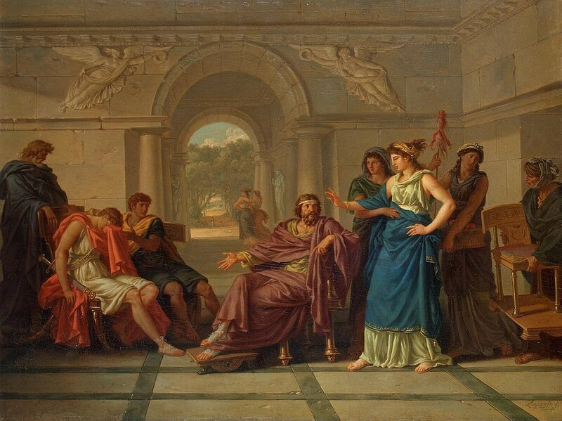 Жан-Жак Лагрене Младший (1739—1821), Встреча Елены и Телемаха (cына Одиссея), 1795, Эрмитаж