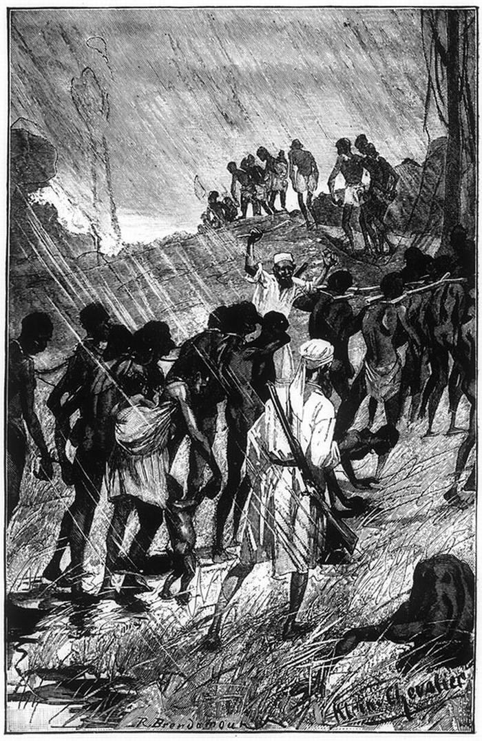 Колонна рабов, движущаяся под проливным дождем (Центральная Африка, 1880-е годы)