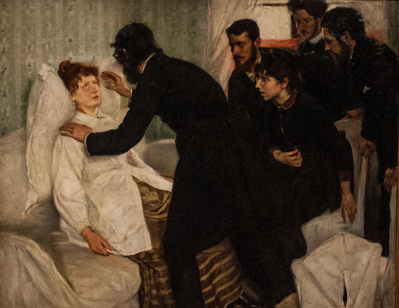 Hypnotic séance, 1887, Richard Bergh (1858-1919), Nationalmuseum Stockholm. Сеанс гипноза1887, Ричард Берг (1858-1919), Nationalmuseum Stockholm