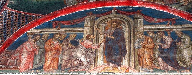 Уверение Апостола Фомы. Фреска монастыря Высокие Дечаны, Косово, Сербия. Около 1350 года.