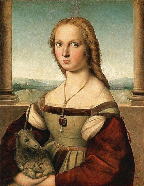 Рафаэль СантиПортрет дамы с единорогом [1505-1506]Рим, галерея Боргезе.
