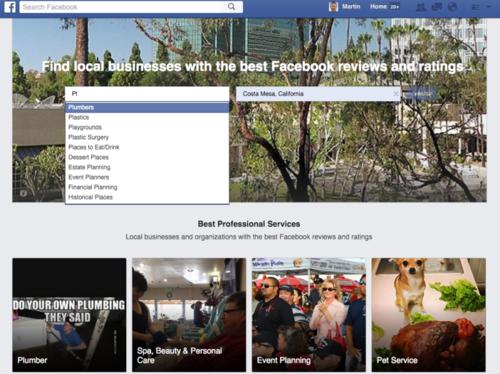Facebook тестирует функционал для поиска местных услуг и заведений