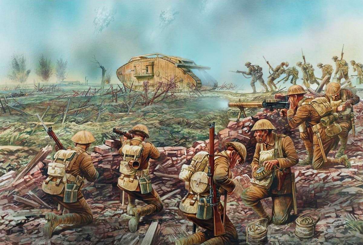 Lewis - Солдаты подразделений британской армии в в ходе сражения в окрестностях города Ипр (Бельгия), август 1917 года
