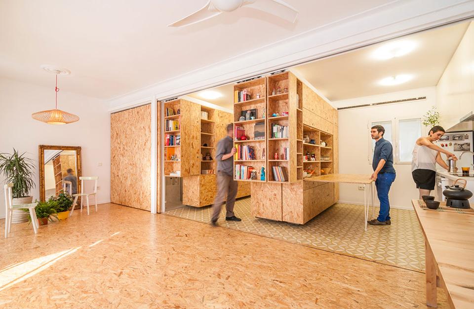 Квартира - трансформер за счет мобильных стеллажей