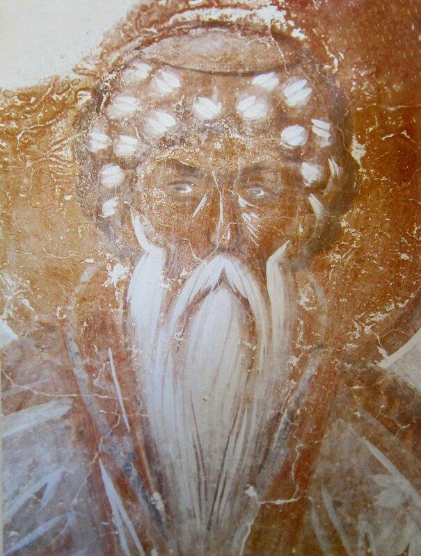 Святой Преподобный Даниил Столпник. 1378 год. Фреска Феофана Грека в церкви Спаса на Ильине улице в Новгороде.