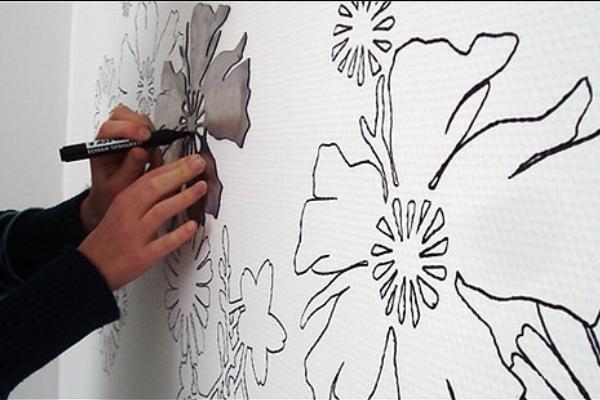Как нарисовать цветы на стене своими руками фото