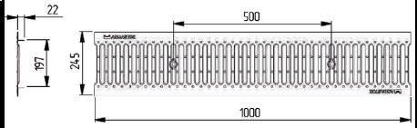 Водоприемная решетка щелевая DN200 штампованная стальная оцинкованная