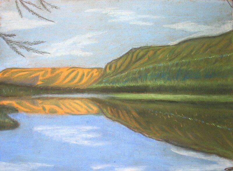Озеро в Саянах, пастель