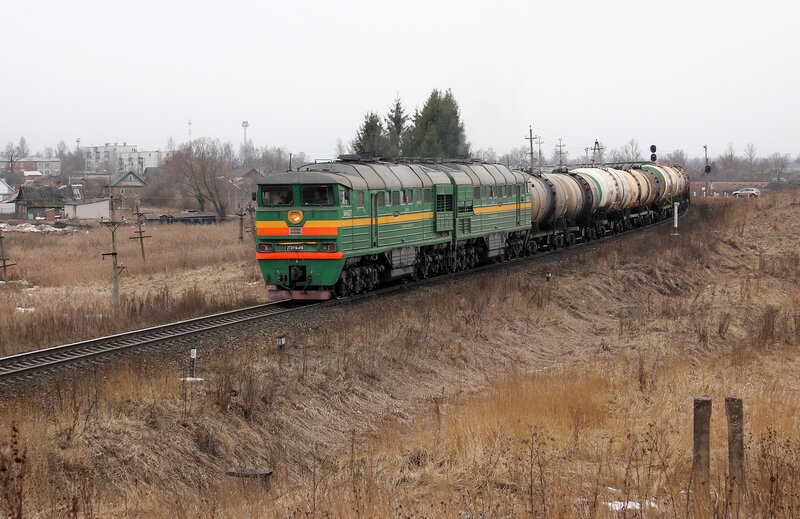 2ТЭ116-416 на перегоне Новосокольники - Шубино