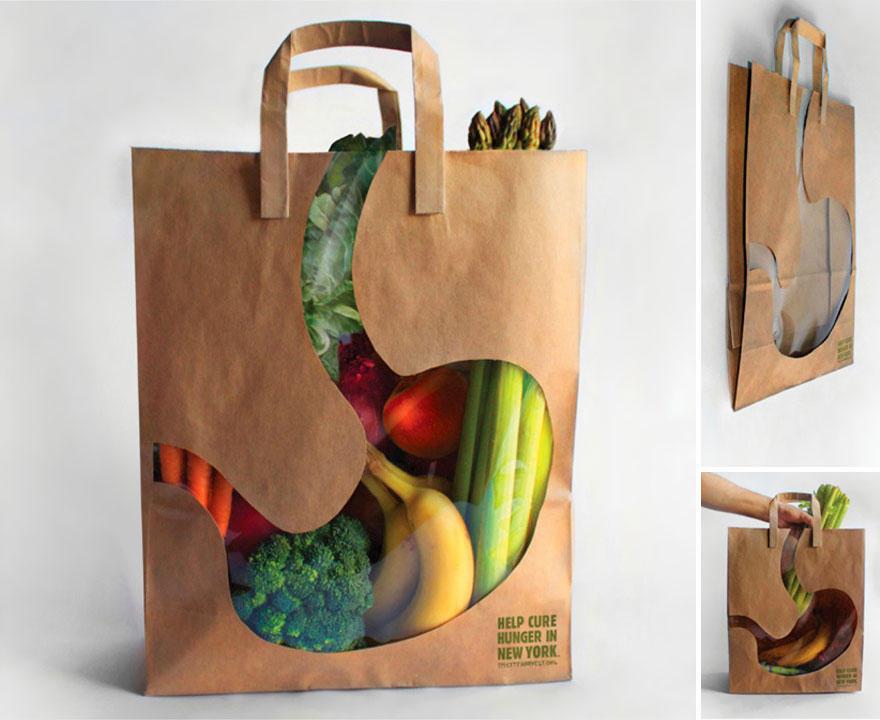 6. Пакет с изображением пустого желудка от благотворительной организации, которая помогает накормить
