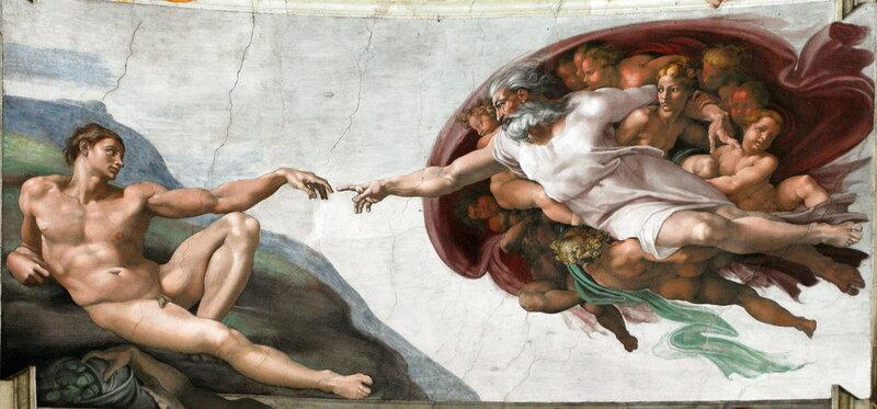 Микеланджело. «Сотворение Адама» / Сикстинская капелла