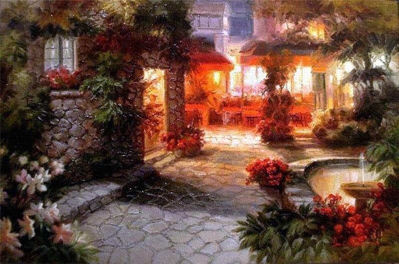 Художник Дэ Чун Ким (Dae Chun Kim) . Затейливые улочки в цветах
