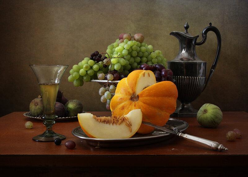 Сок , виноград и дынька